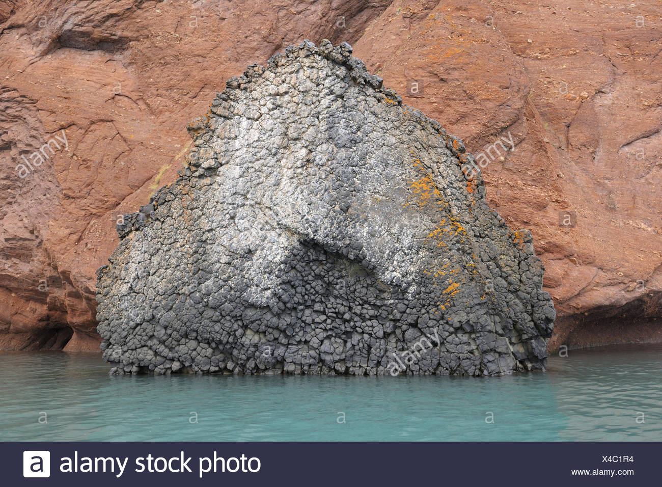 Geologic characteristic in the Rode fjord, Scoresbysund, Greenland, - Stock Image