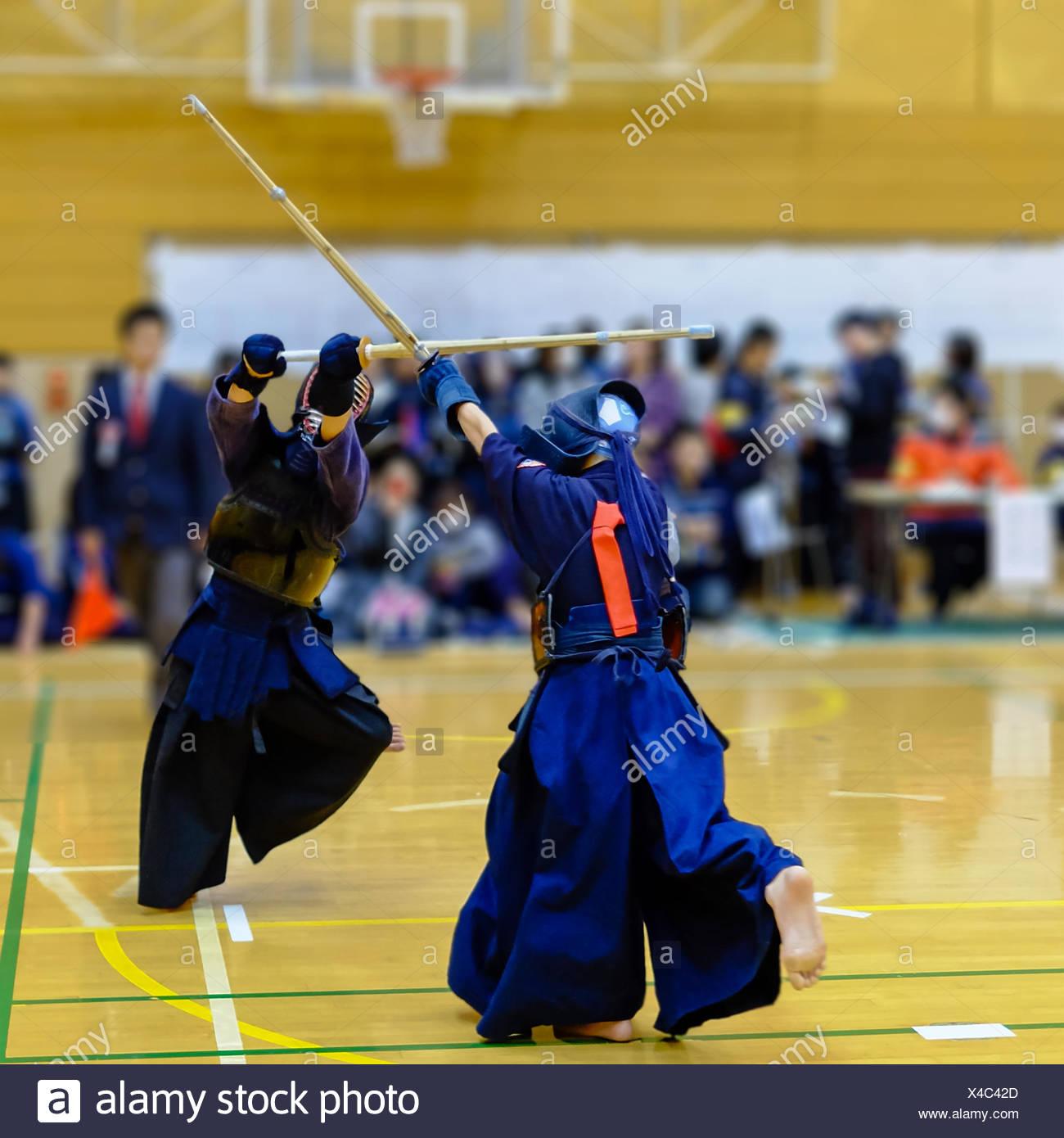 Women Fighting Kendo - Stock Image