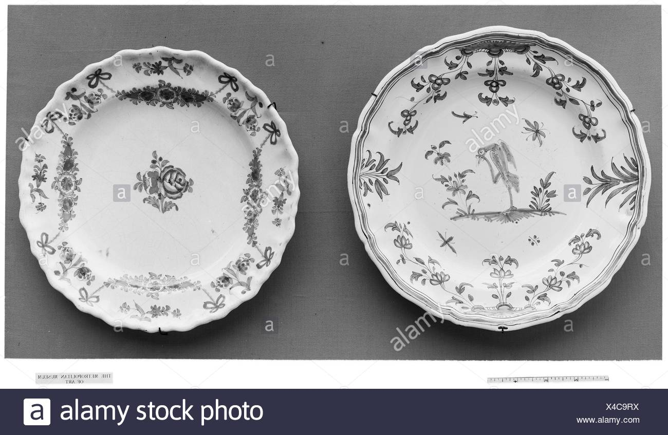 Plate. Date: ca. 1750-75; Culture: French, possibly Montpellier; Medium: Tin-glazed earthenware; Dimensions: Diam. 10 in. (25.4 cm); Classification: Stock Photo