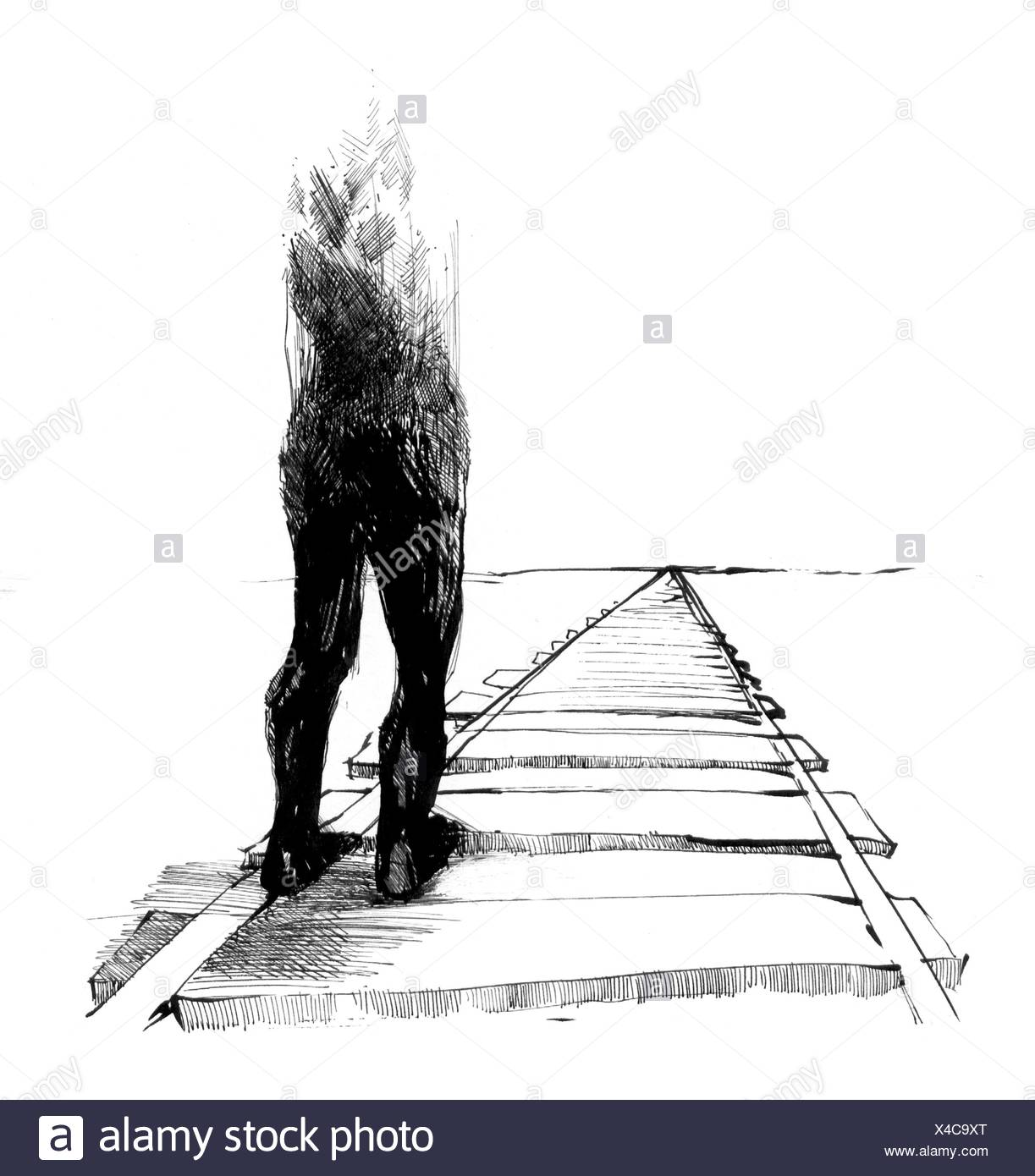 man on the tracks - Stock Image