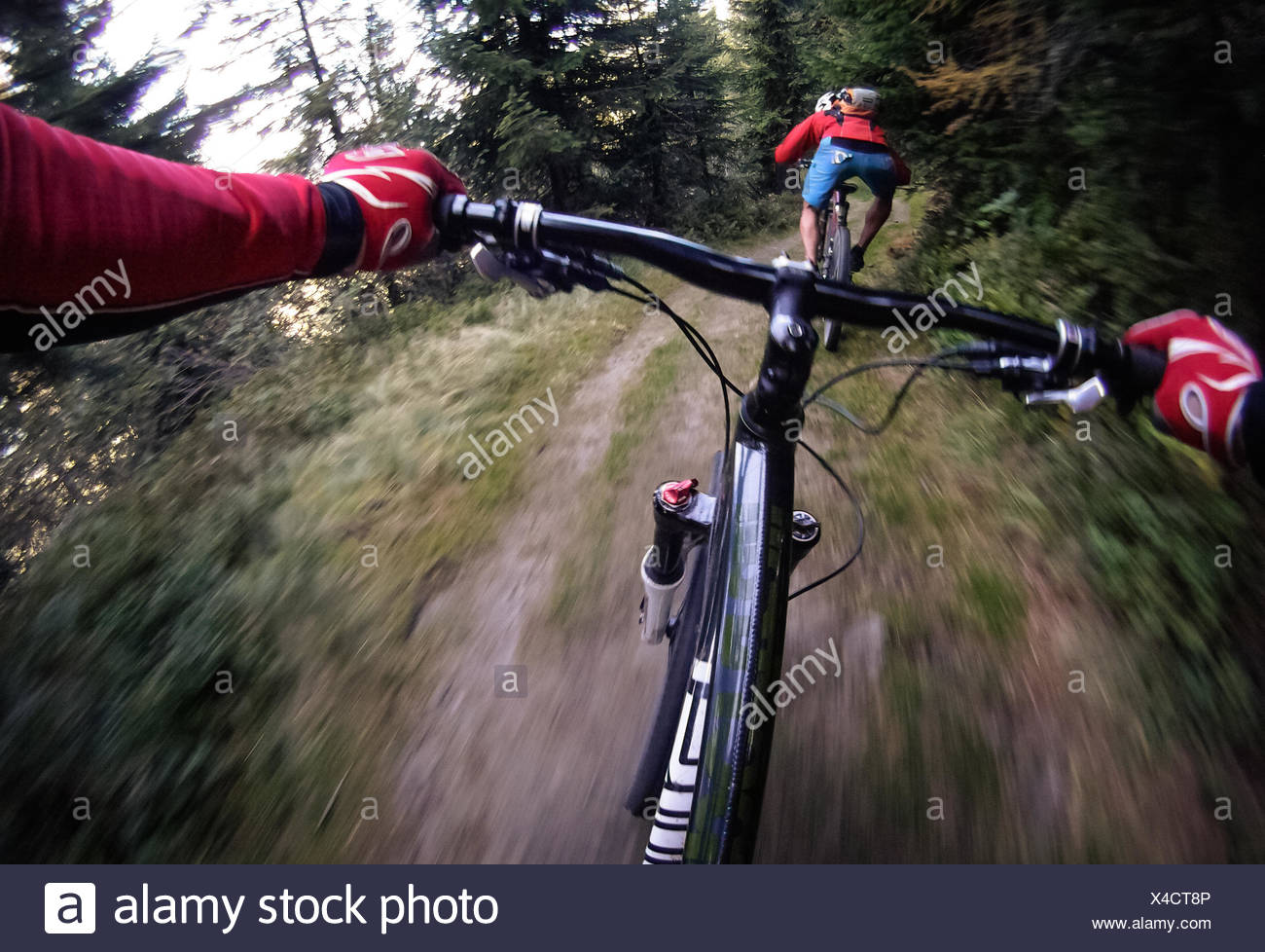 Austria, Salzburg, Shot of mountain biker chasing another - Stock Image