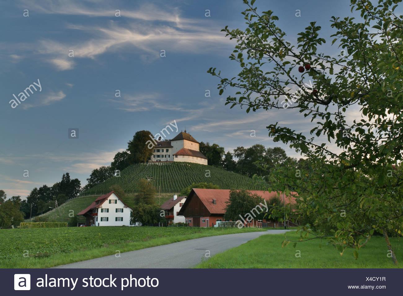 Girsberg castle on a drumlin in the Stammertal valley, Zurich, Switzerland - Stock Image