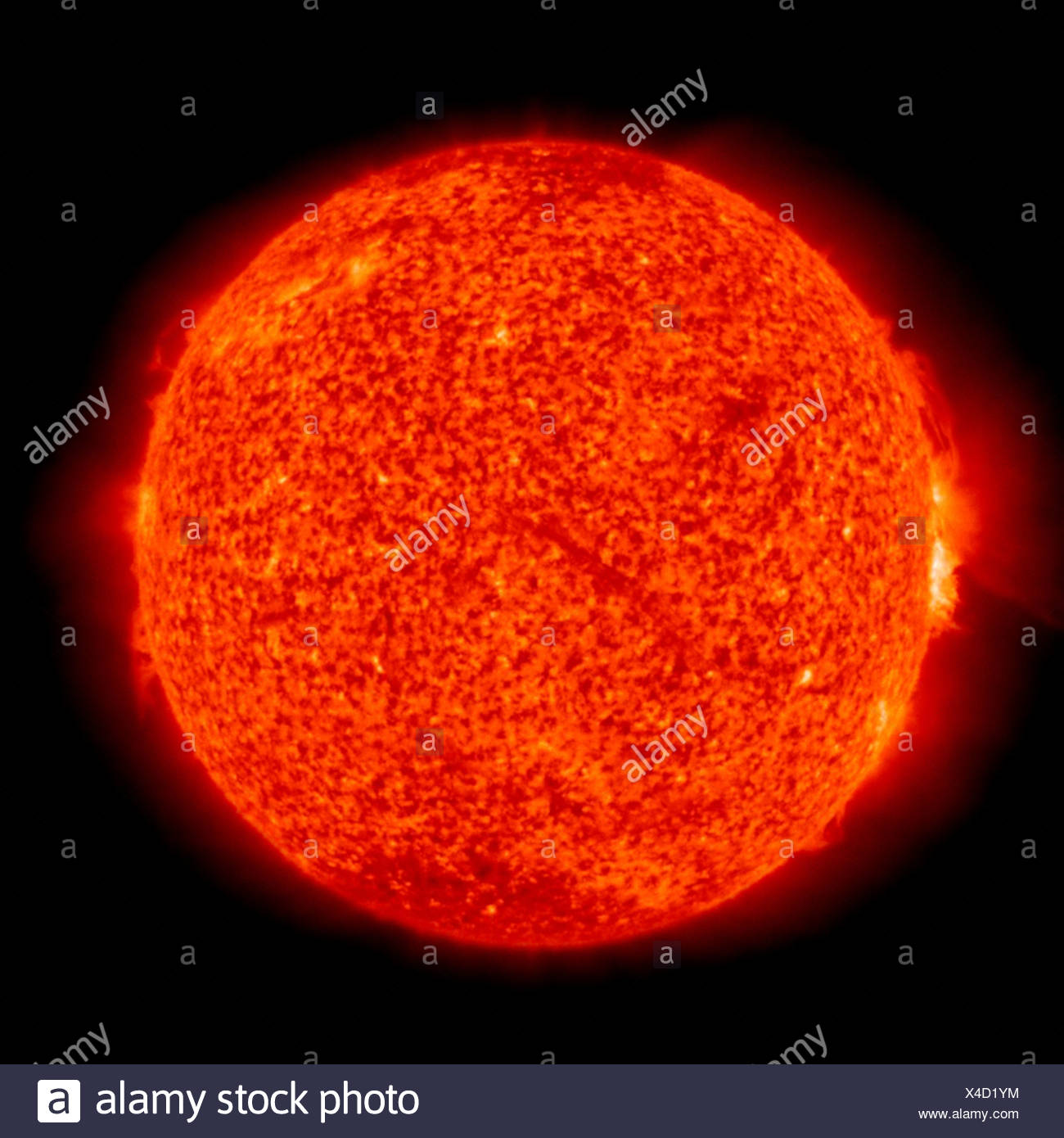 A view fairly normal Sun solar prominences on edge seen in Solar Heliospheric Observatory (SOHO)'s Extreme ultraviolet Imaging - Stock Image