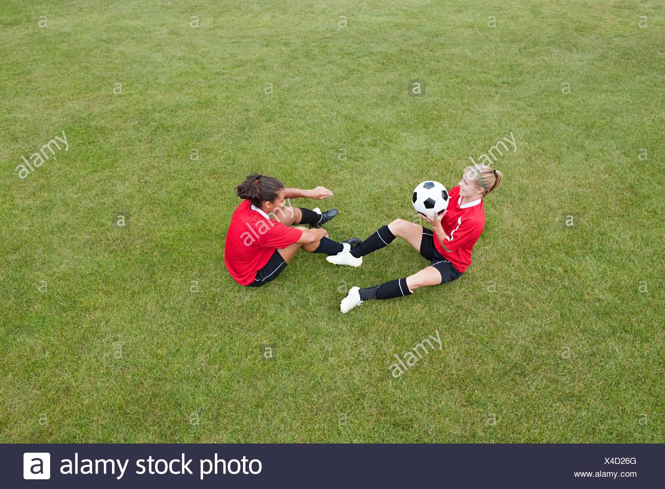 Girls doing soccer practice - Stock Image