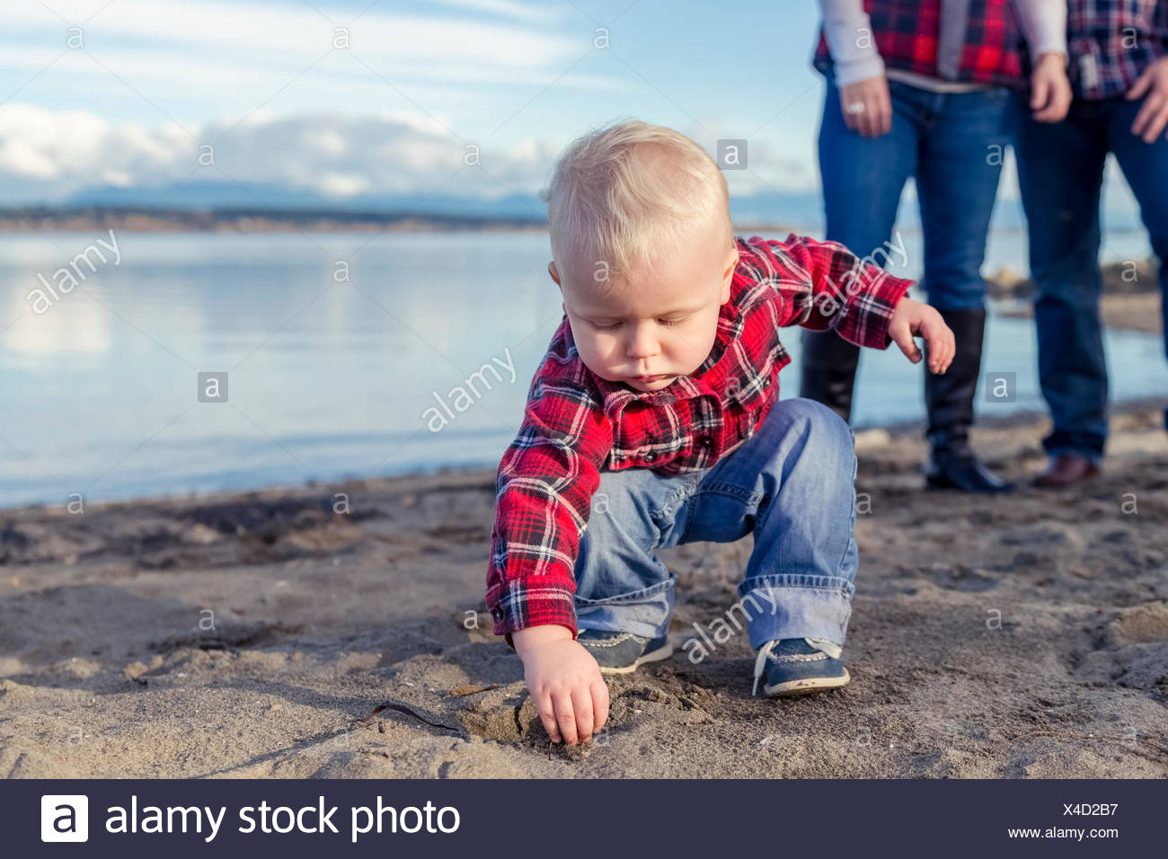 A young toddler gets his hands dirty playing with sand on the beach while his parents look on from the background; Surrey, British Columbia, Canada - Stock Image