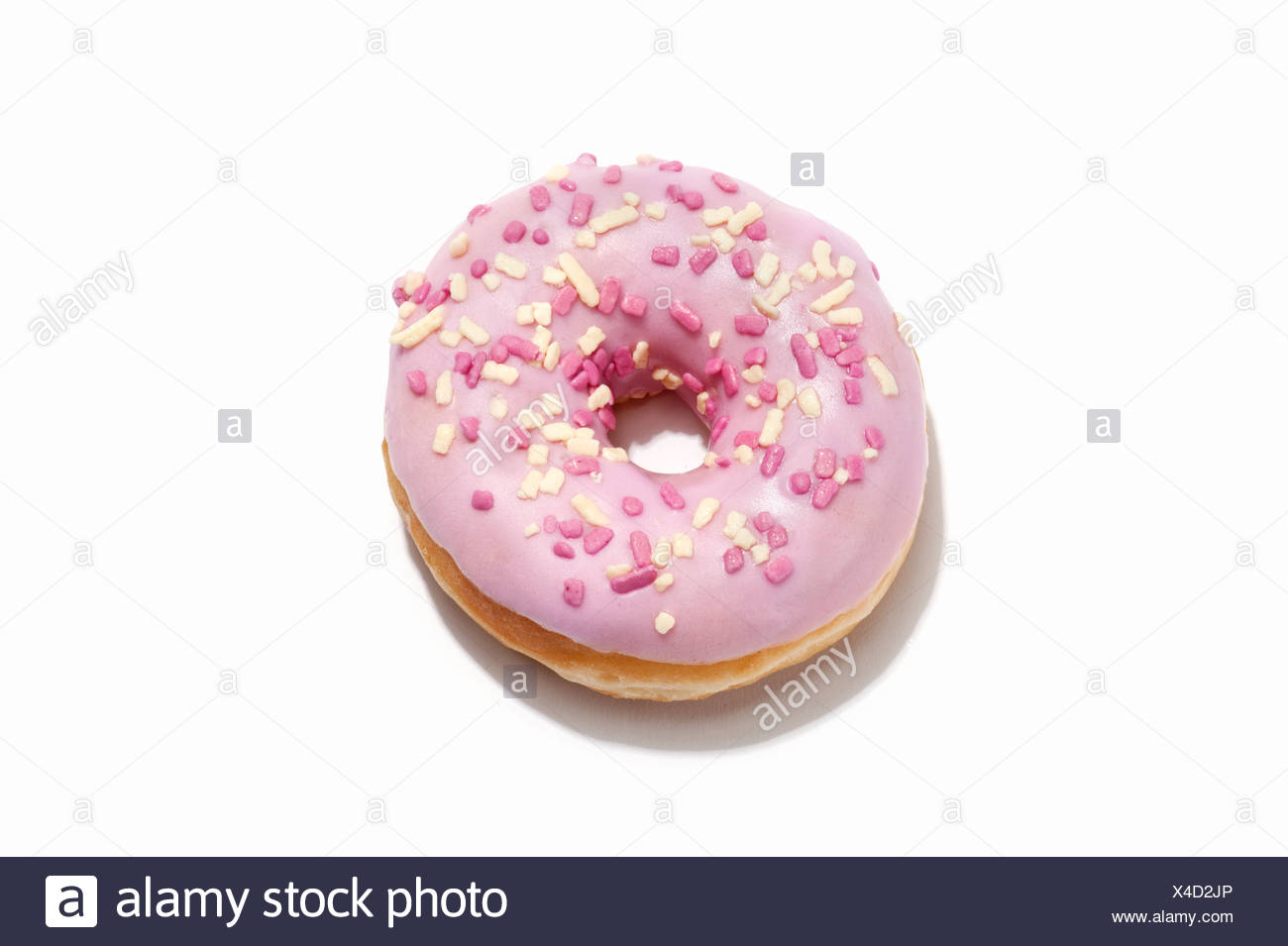 A ring doughnut with pink icing - Stock Image