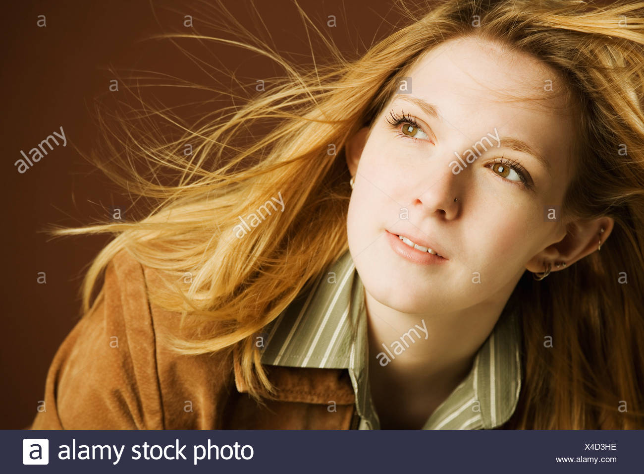 Woman in the wind - Stock Image