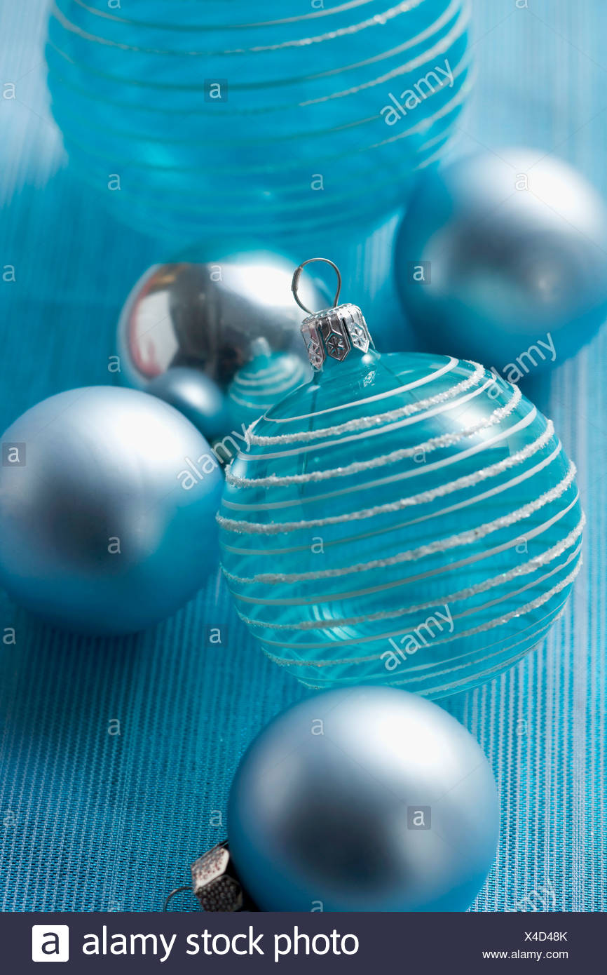 Christmas Tree Baubles Turquoise And Silver Stock Photo Alamy