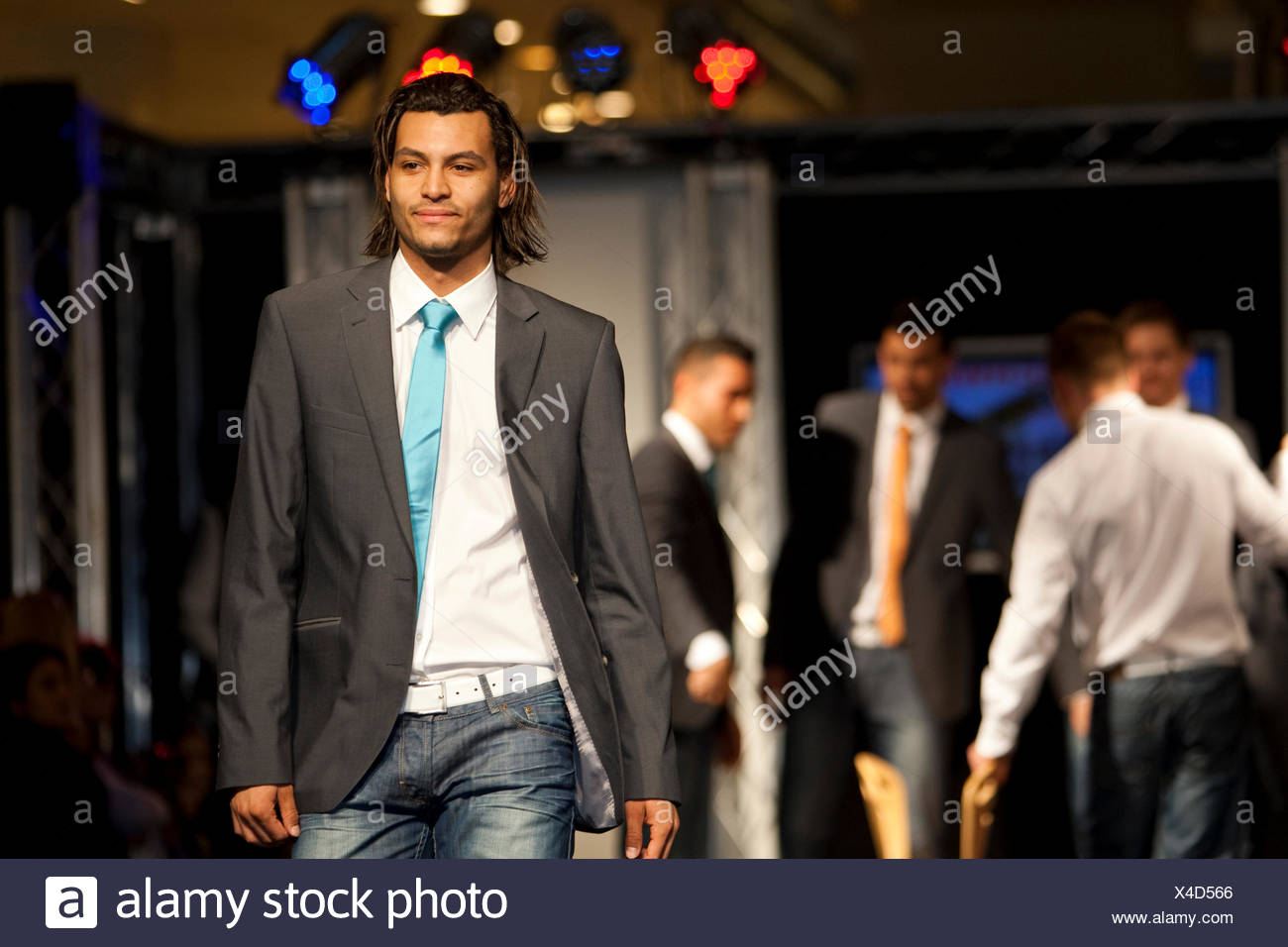 Daniel Mkongo, Mister Switzerland-finalist in 2010, presenting Feldpausch and PKZ in a fashion show in the Emmencenter shopping - Stock Image