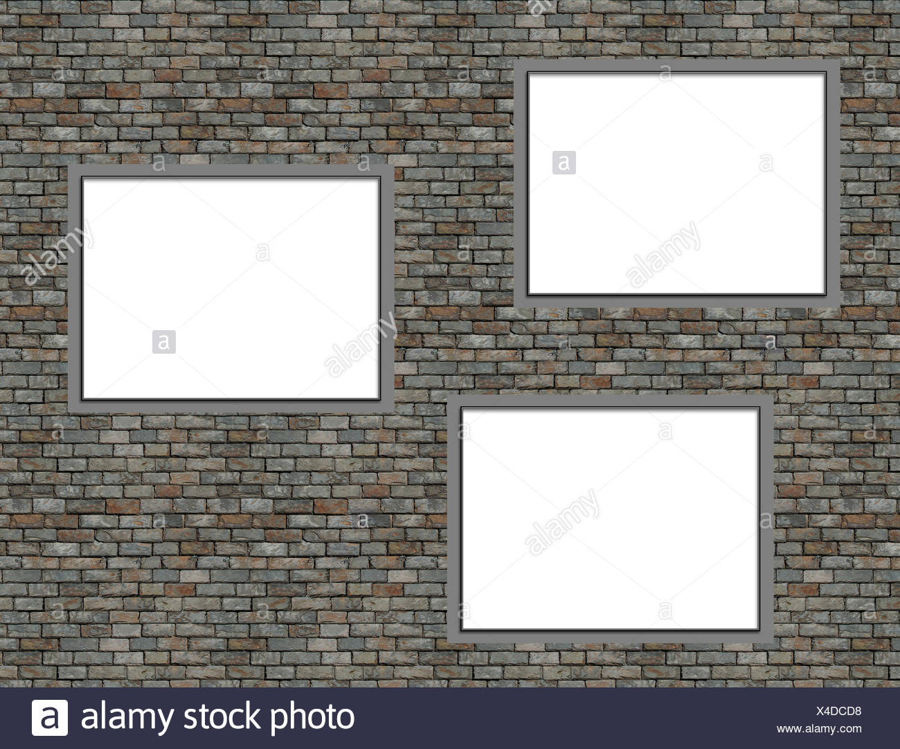 Wall with frames Stock Photo
