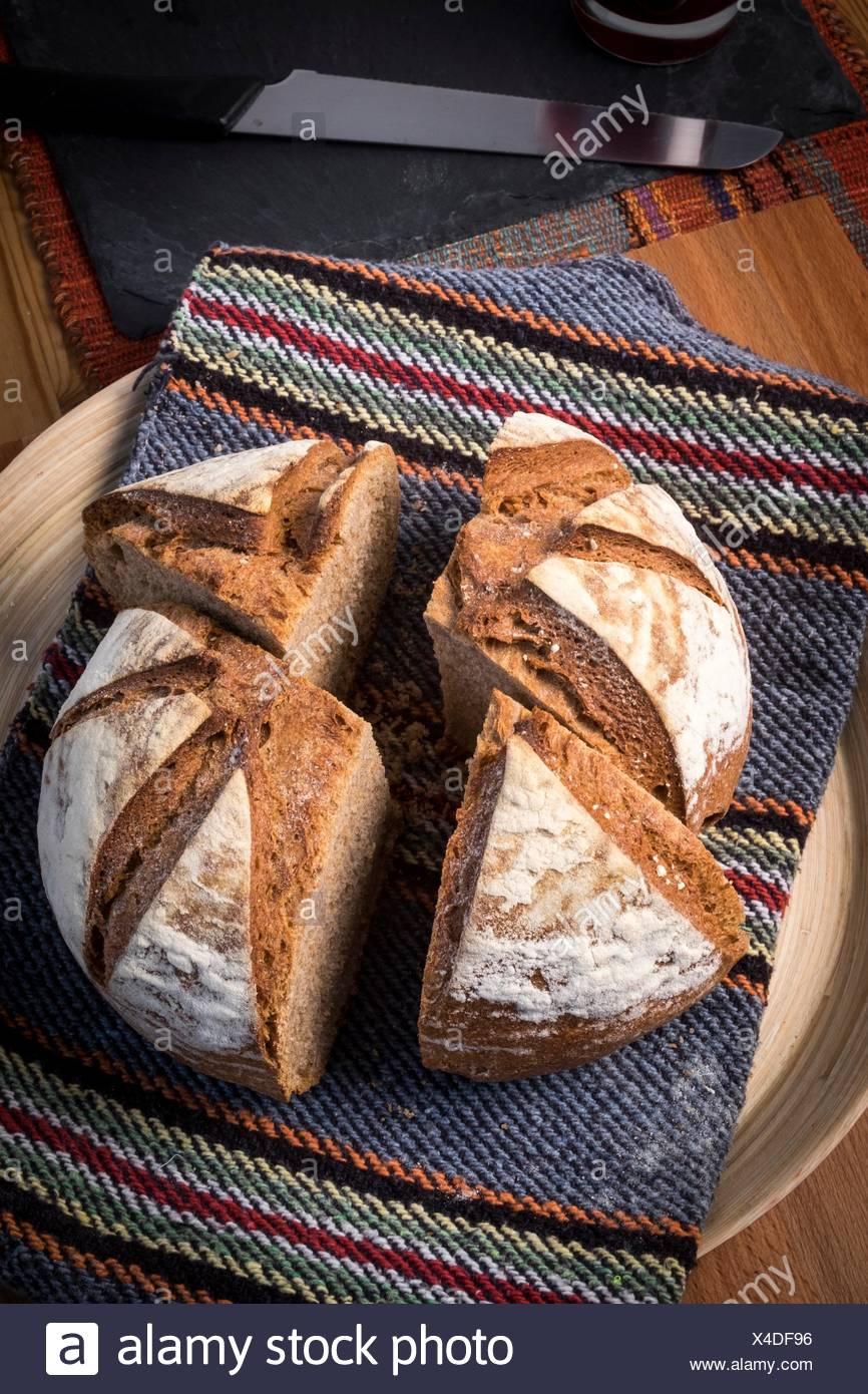 Organic homemade bread. - Stock Image