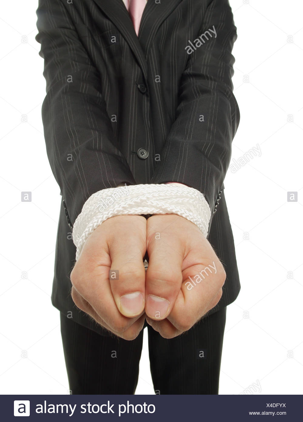 Man with his hands tied - Stock Image