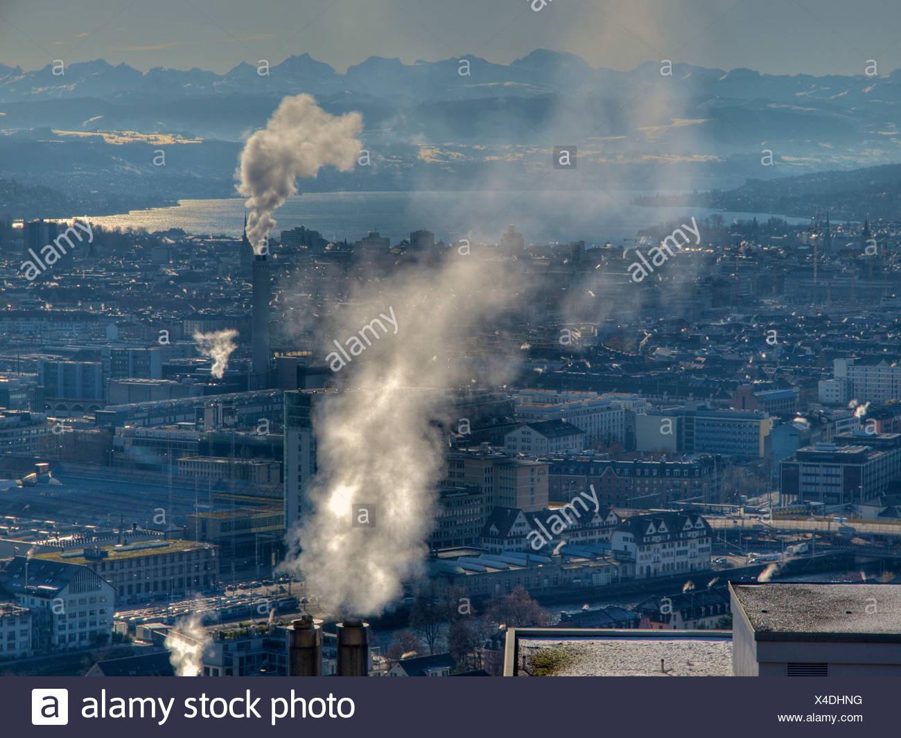 Smoke, cold, smoke, Zurich, Switzerland, Zurich lake, winter - Stock Image