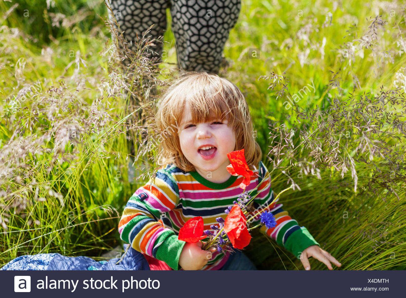 Girl holding poppy flowers and sitting at grassy field by woman - Stock Image