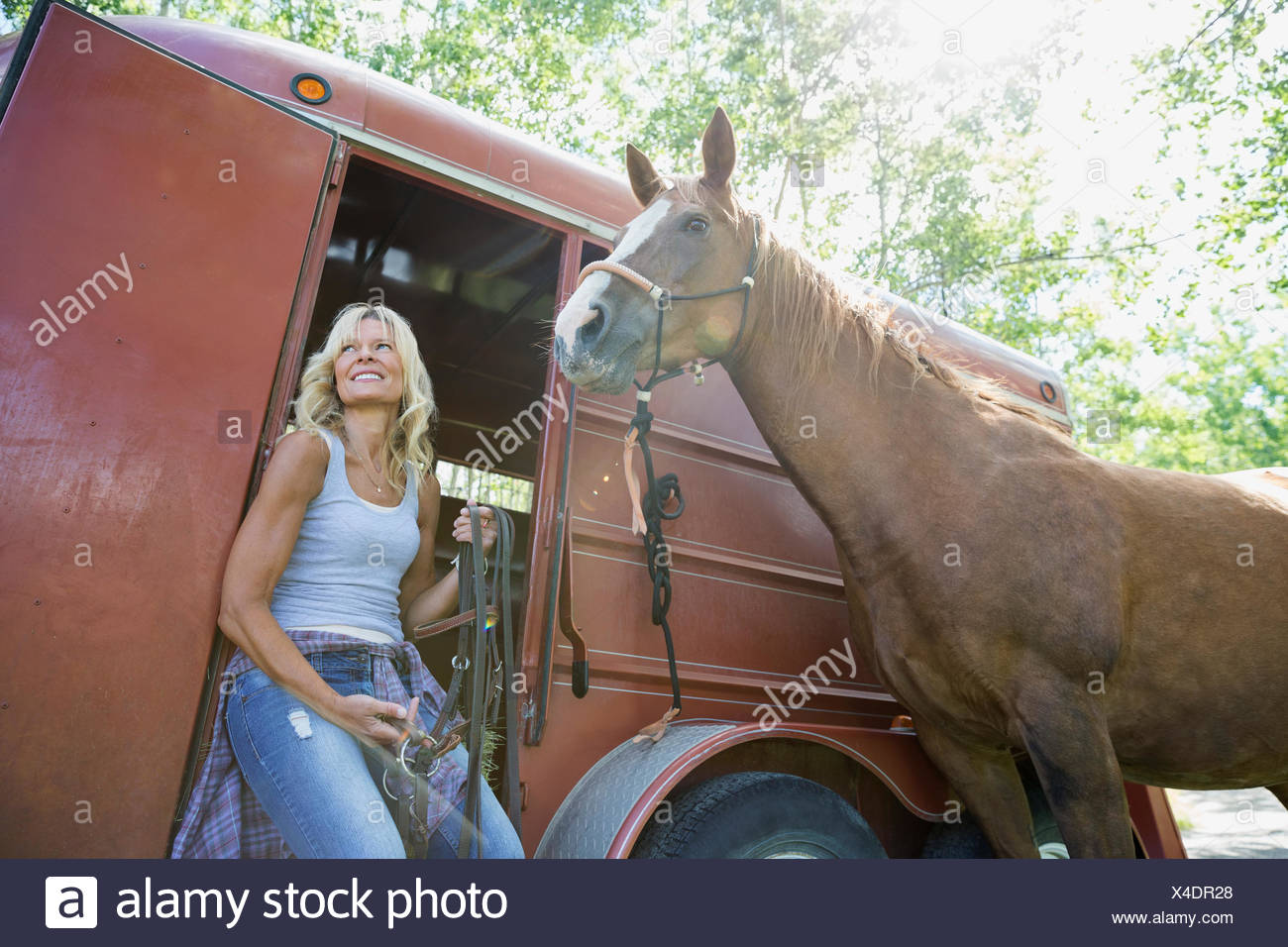 Smiling woman with horse at trailer - Stock Image