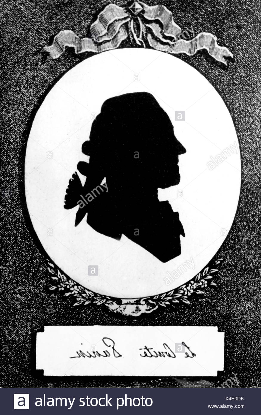 Panin, Nikita Ivanovich, 26.9.1718 - 20.3.1783, Russian politician, Foreign Minister 1763 - 1783, portrait, silhouette, 18th century, , Additional-Rights-Clearances-NA - Stock Image