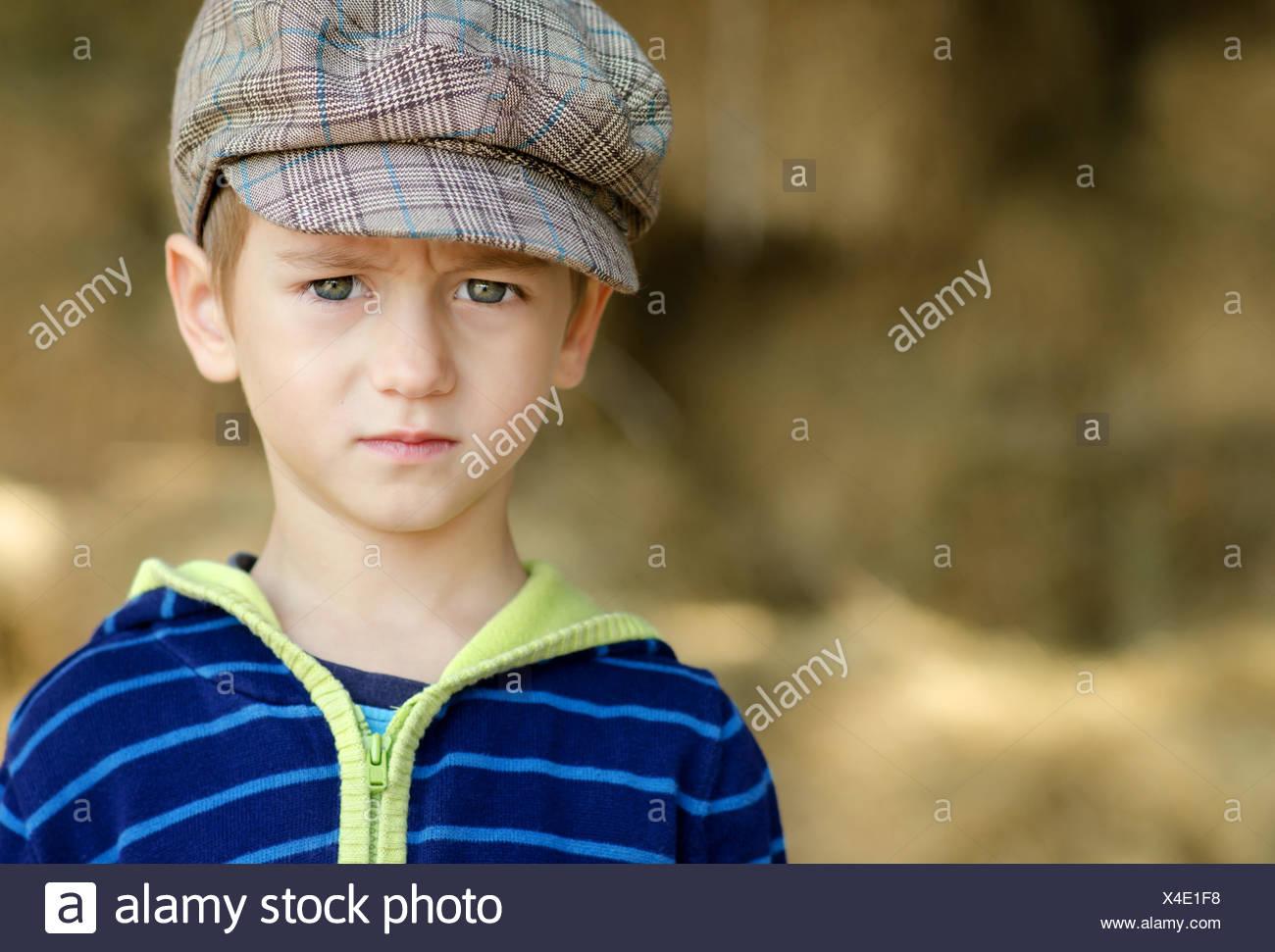 Bulgaria, Portrait of serious little boy (4-5) - Stock Image