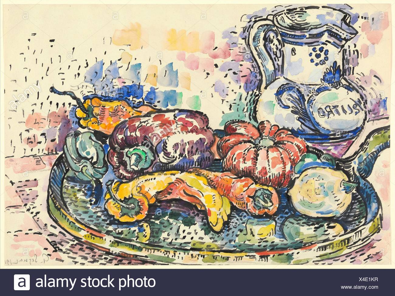 Still Life with Jug. Artist: Paul Signac (French, Paris 1863-1935 Paris); Date: 1919; Medium: Graphite and watercolor; Dimensions: 11 7/8 x 17 5/8 Stock Photo