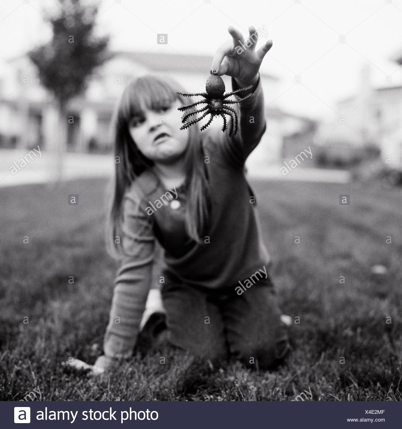 A girl holding a fake spider - Stock Image