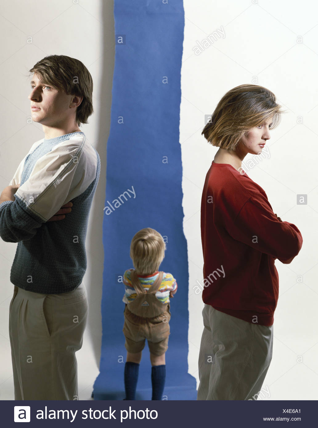 turned away parents family argue quarrel argument separation divorce problem argue problematic child midd - Stock Image