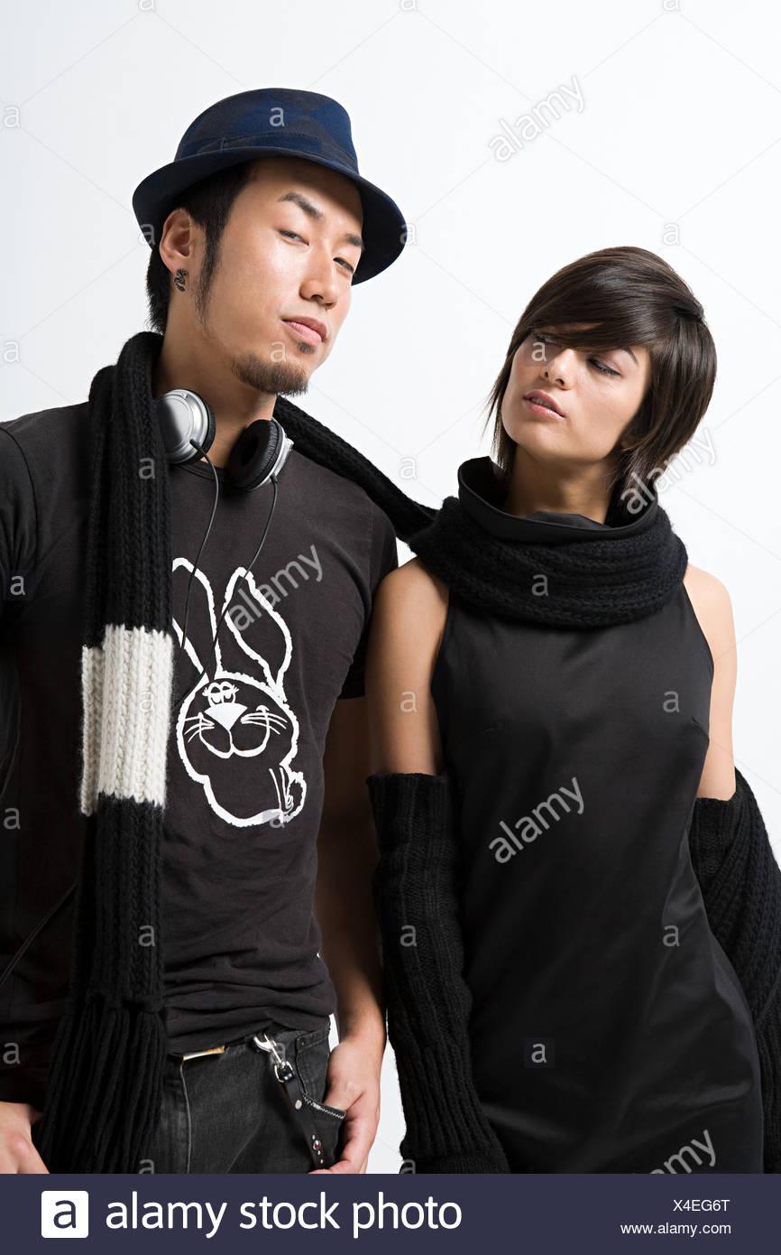 Stylish japanese couple - Stock Image