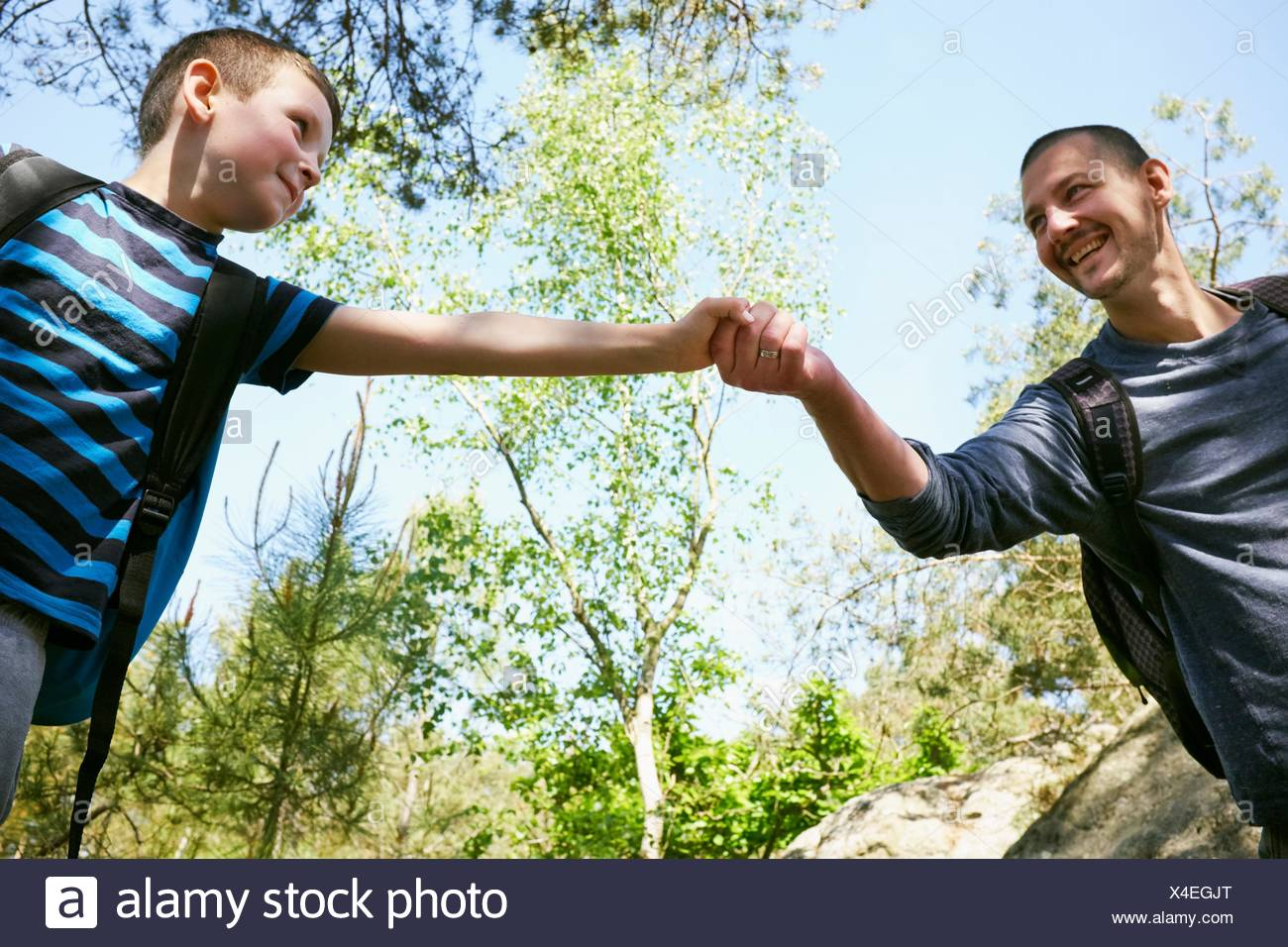 Male hiker giving son a helping hand in forest - Stock Image