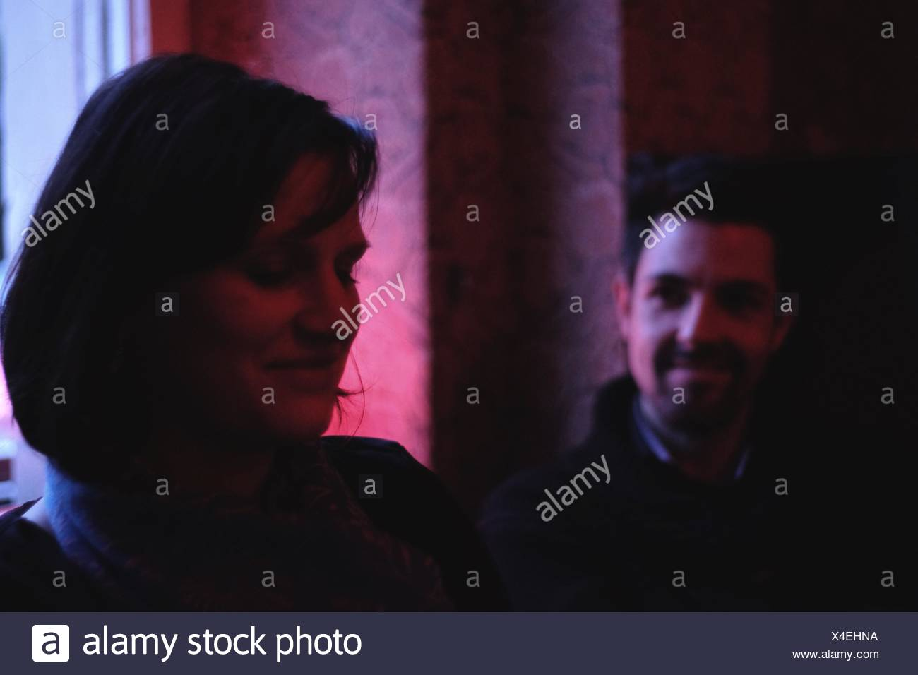 Close-Up Of Heterosexual Couple Smiling - Stock Image