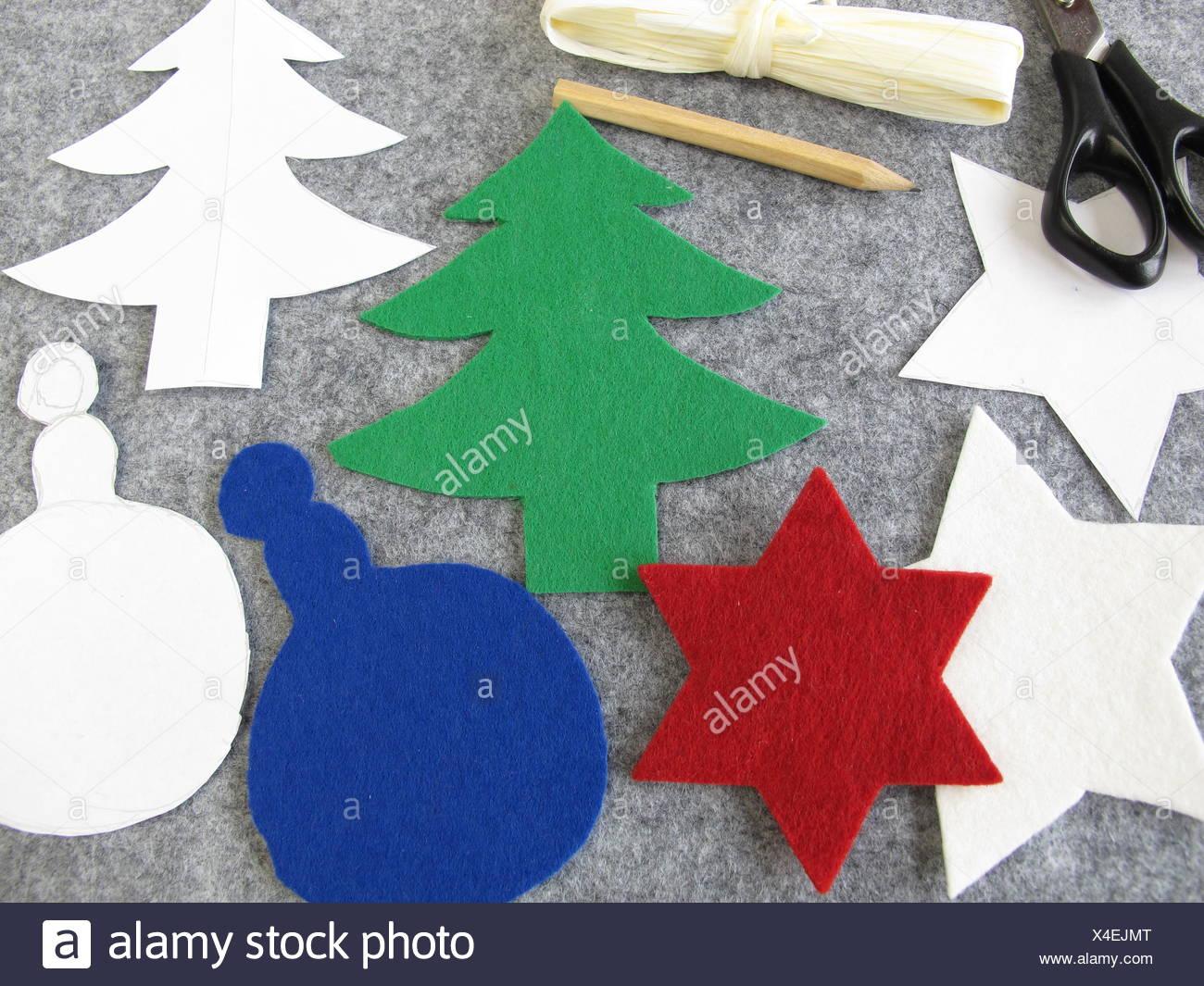 Handicrafts Christmas Decorations Felt Christmas Stock Photos