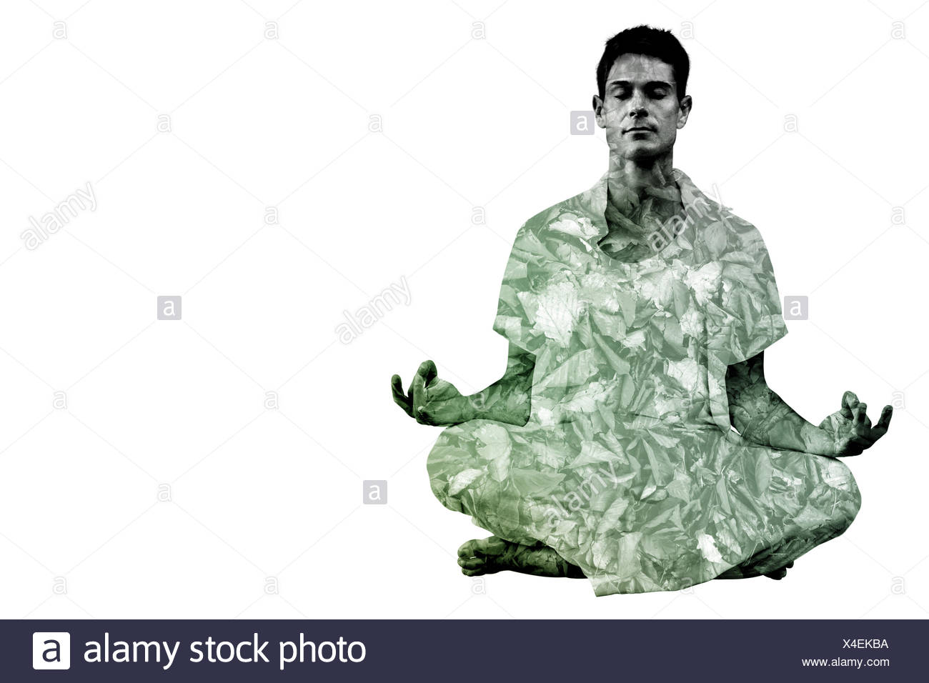 Composite image of handsome man in white meditating in lotus pose - Stock Image