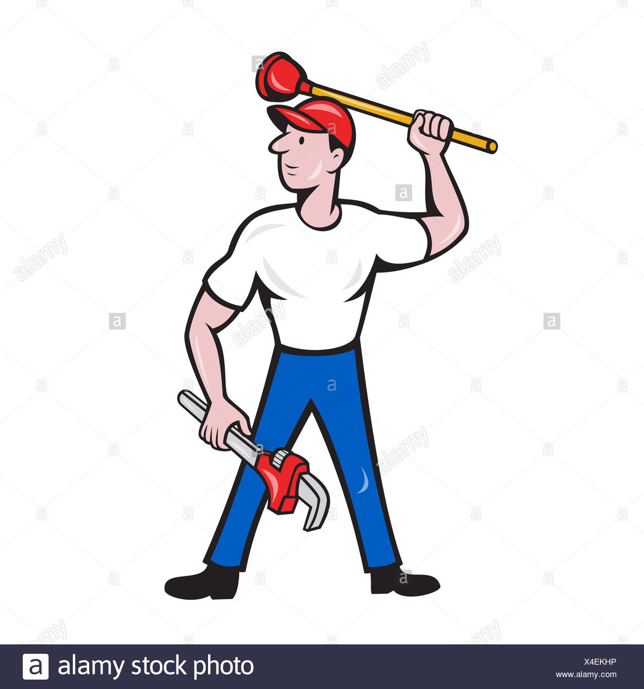 Plumber Wield Wrench Plunger Isolated Cartoon - Stock Image