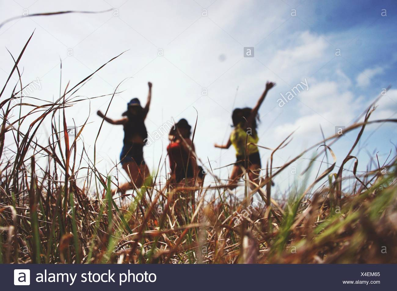 Women Jumping On Field Against Cloudy Sky - Stock Image