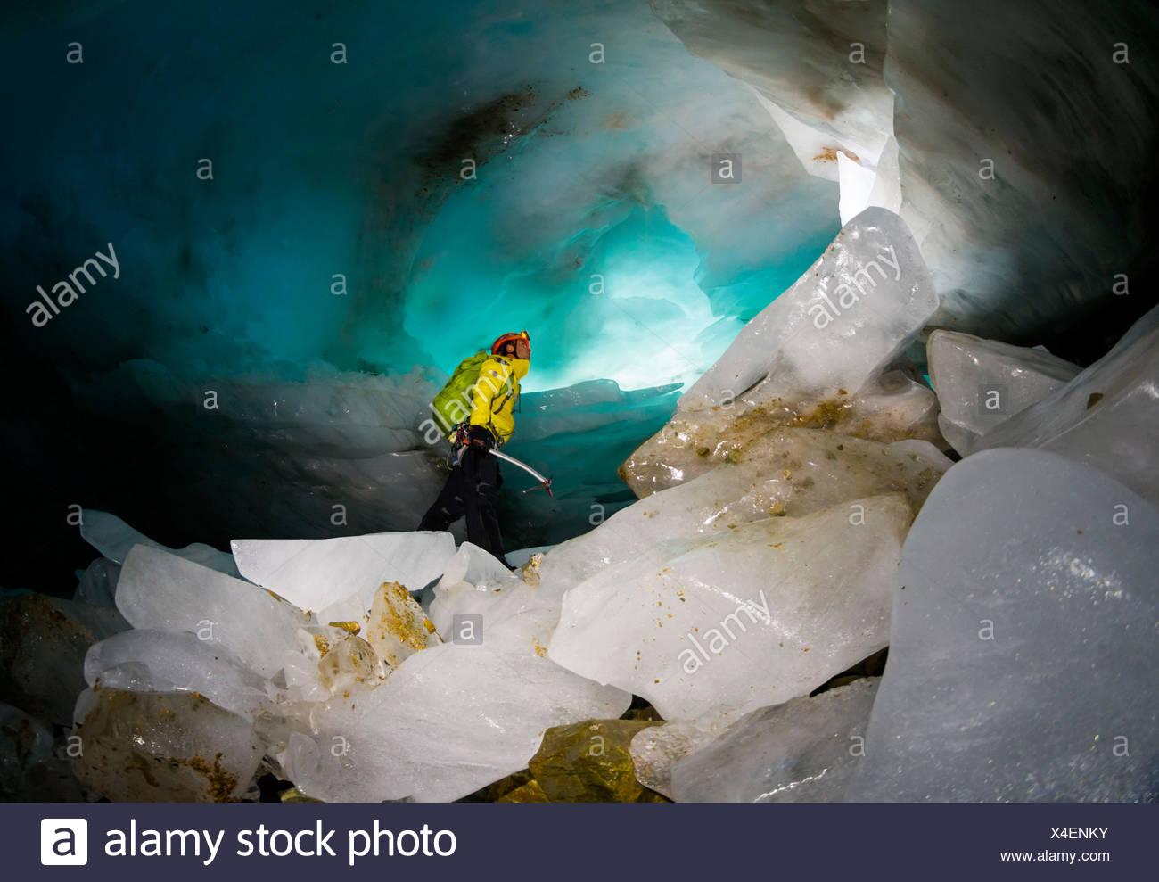 Ice cave, Paradisin glacier, Livigno Valley, Lombardy, Italy - Stock Image