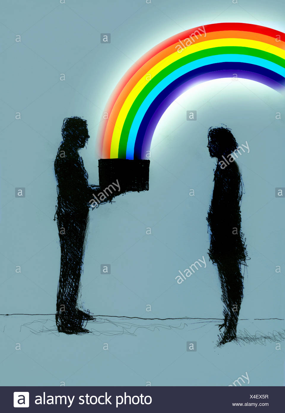 Businessman giving businesswoman box with rainbow Stock Photo