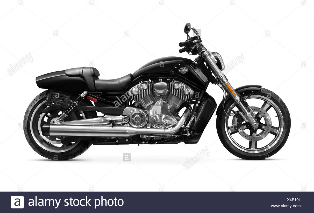Black 2010 Harley-Davidson VRSC V-Rod Muscle motorcycle with 1250cc Revolution V-Twin engine - Stock Image