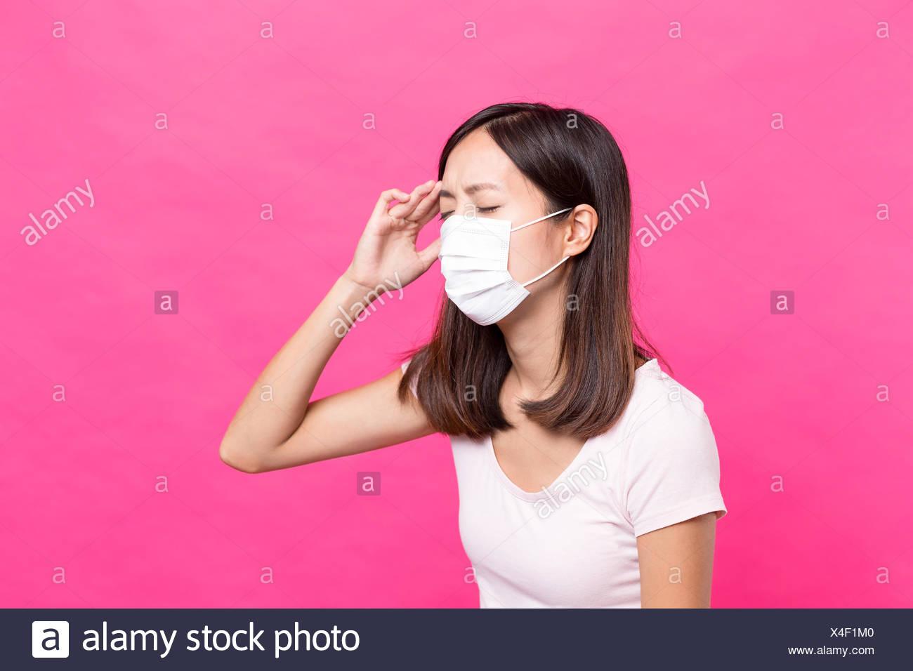 Sad Woman Wearing Face Mask Stock Photos & Sad Woman Wearing Face