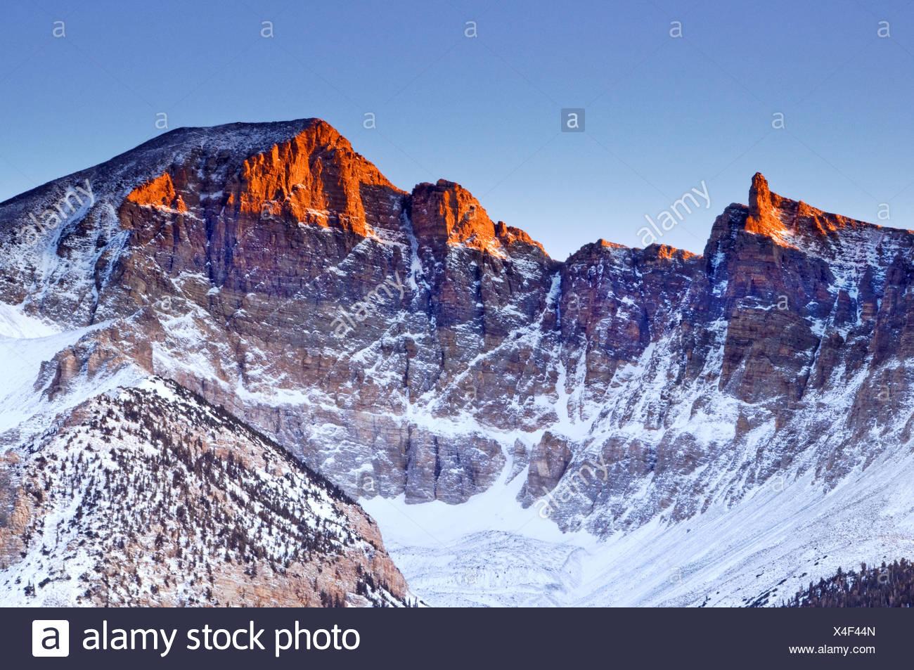 Early morning light illuminates Wheeler Peak in Great Basin National Park. Stock Photo