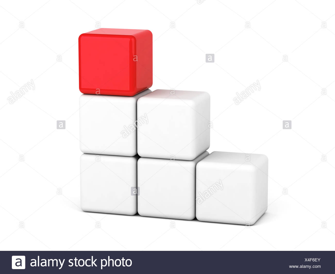 bright red cube leadership concept - Stock Image