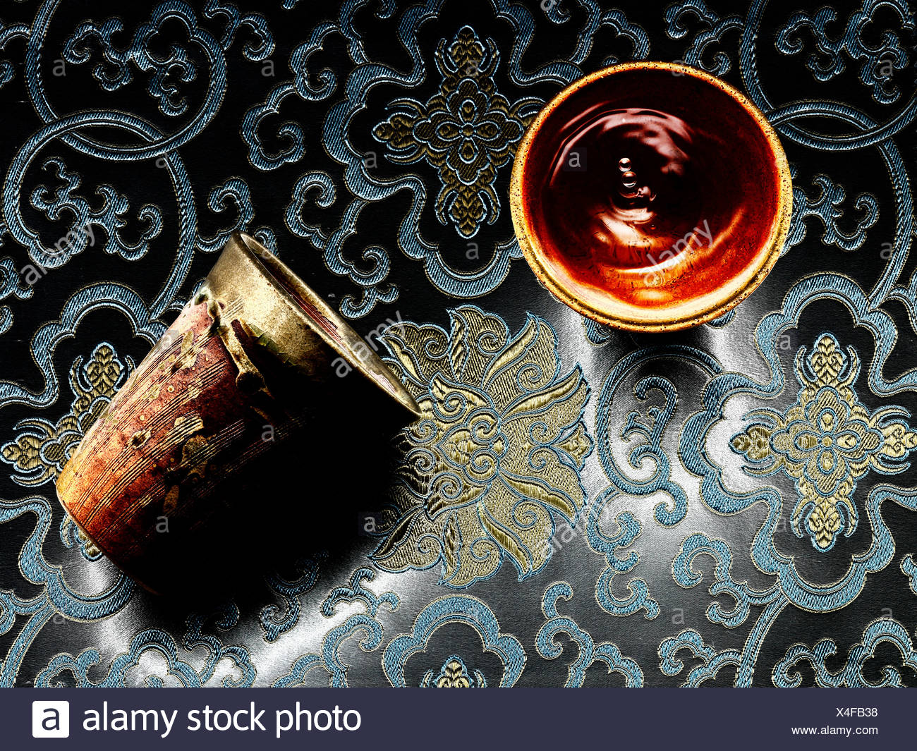Sake in cup - Stock Image