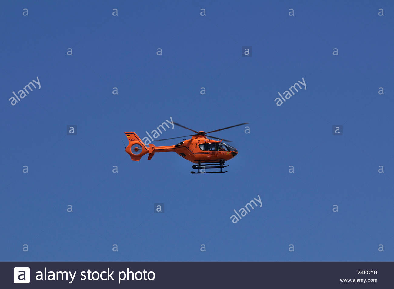 Christoph 9 rescue helicopter in flight, Eurocopter 135, Duisburg, rescue helicopter of the German Ministry of the Interior - Stock Image