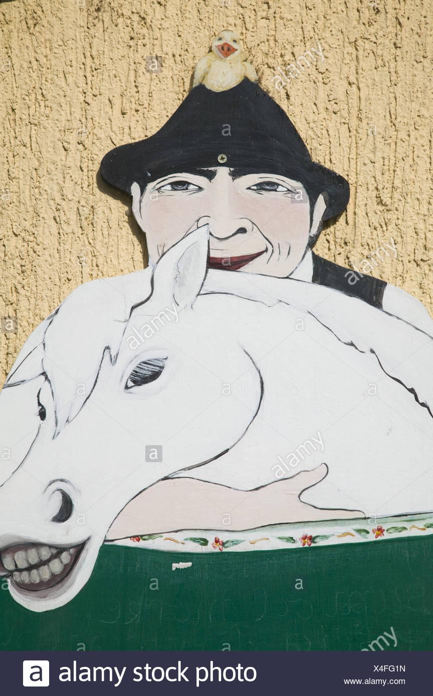 Serbien, Belgrad, Stadtteil Zemun, Hausfassade, Schild, Malerei, - Stock Image