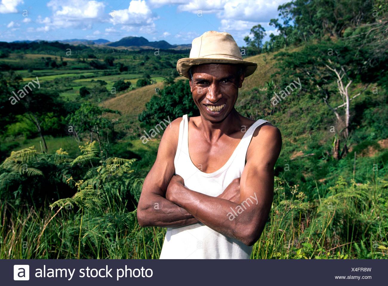 Farmer, highlands, Madagascar, Africa Stock Photo