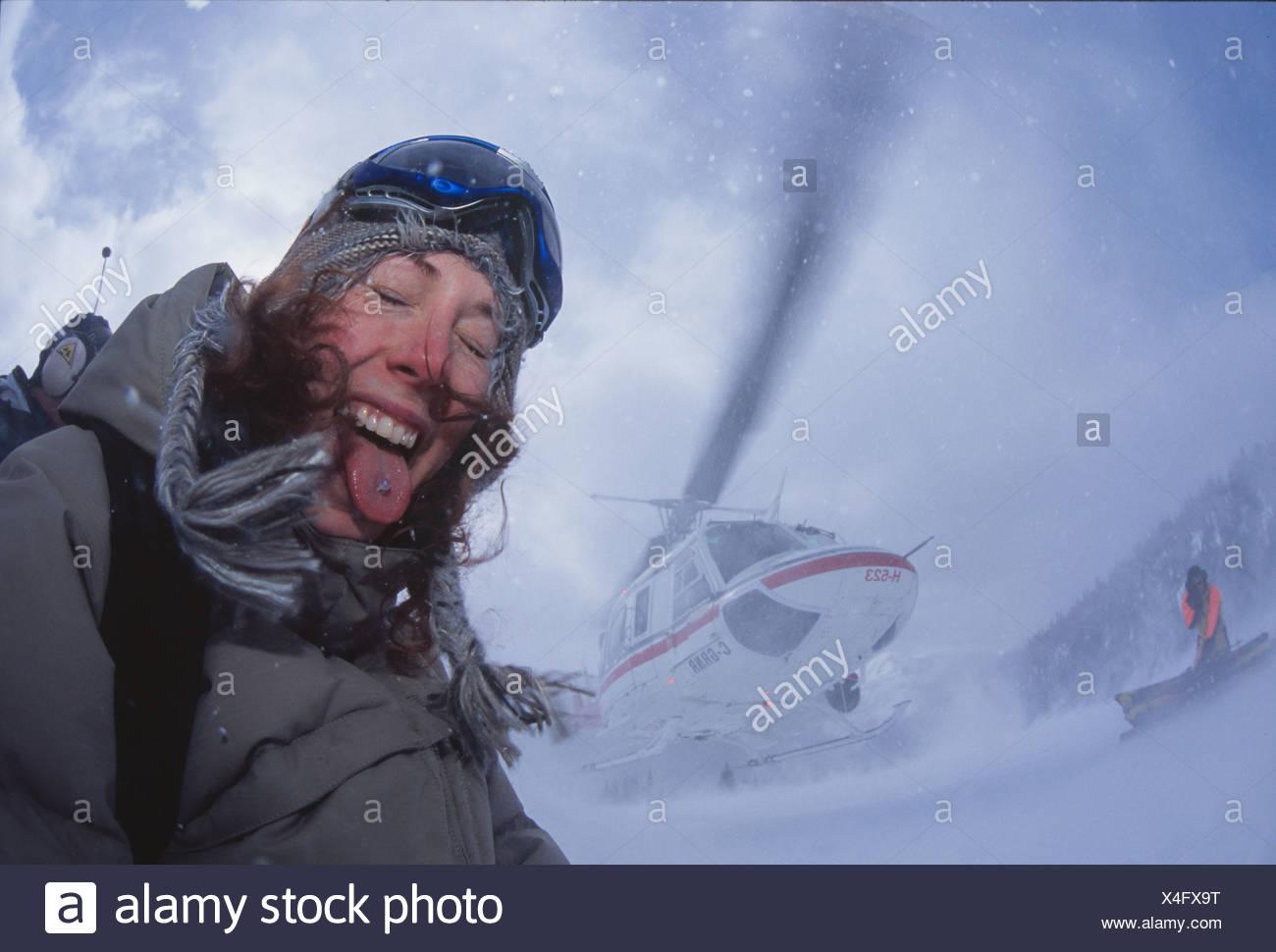 Heli-skier with pierced tounge, Bugaboos, BC. - Stock Image