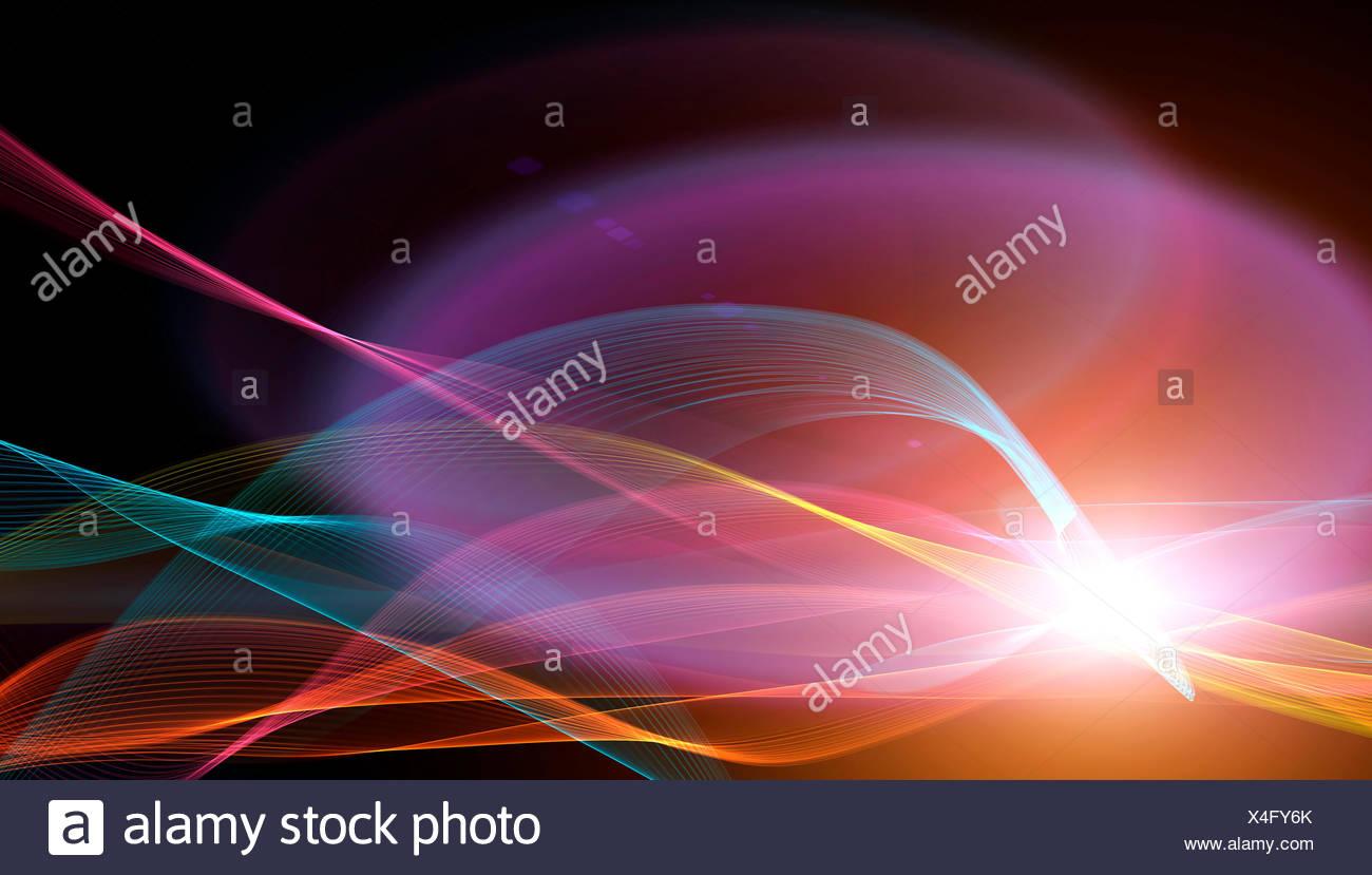 Bright multicoloured swirls, illustration. - Stock Image