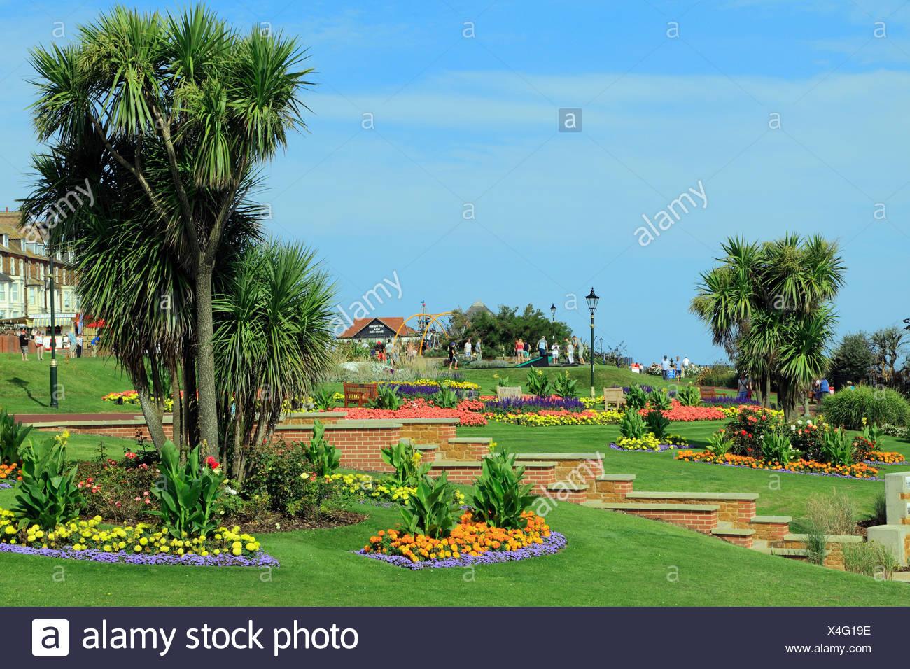 Esplanade Gardens, Cliff top Marine Parade,, Hunstanton, Norfolk, England, UK, seaside resort - Stock Image