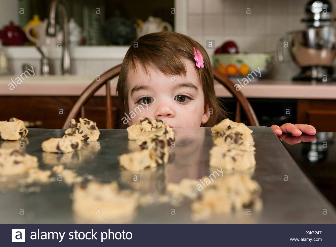 Close up portrait of young female toddler looking at currant cakes - Stock Image
