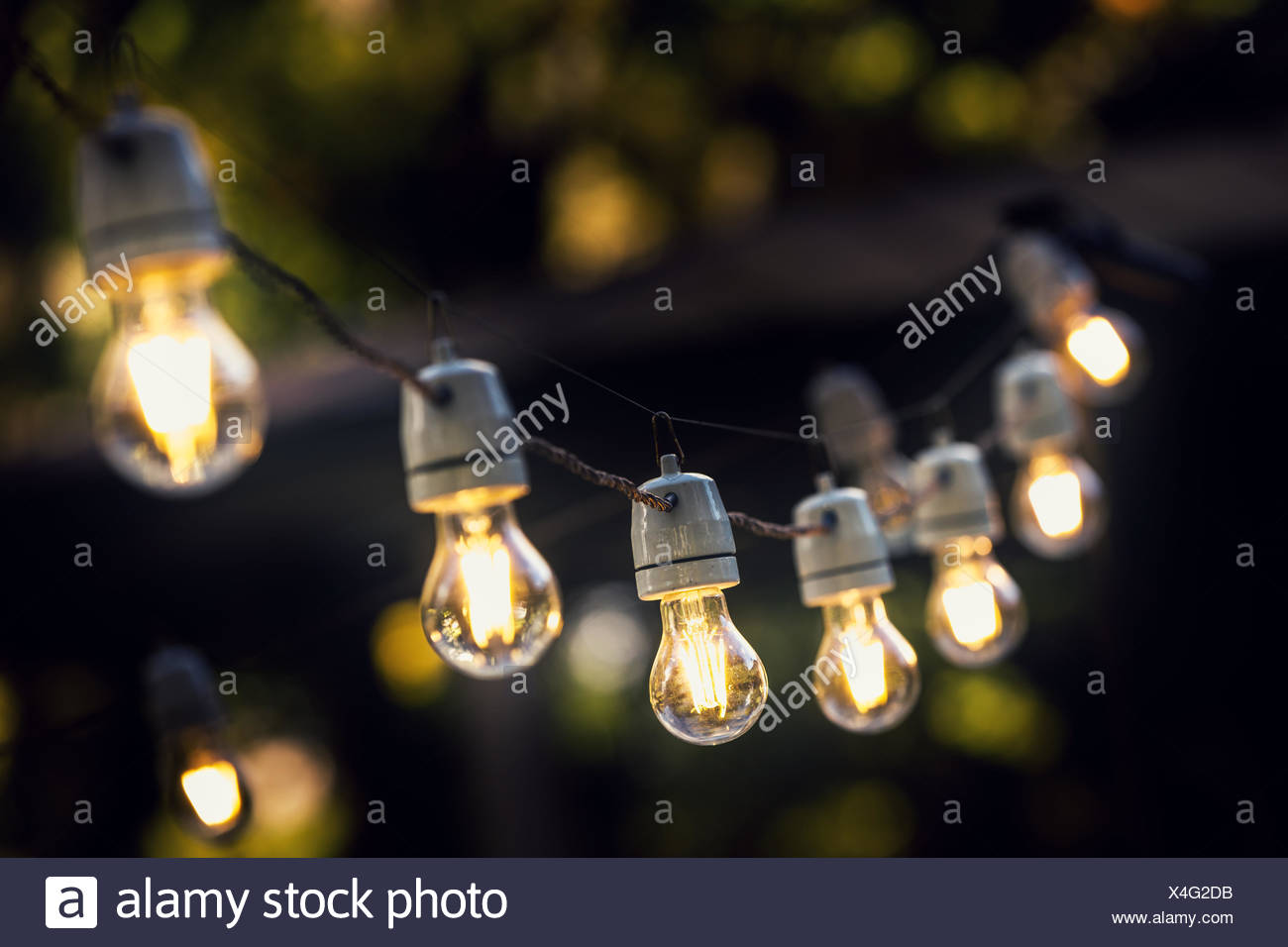 party string lights hanging in a line Stock Photo