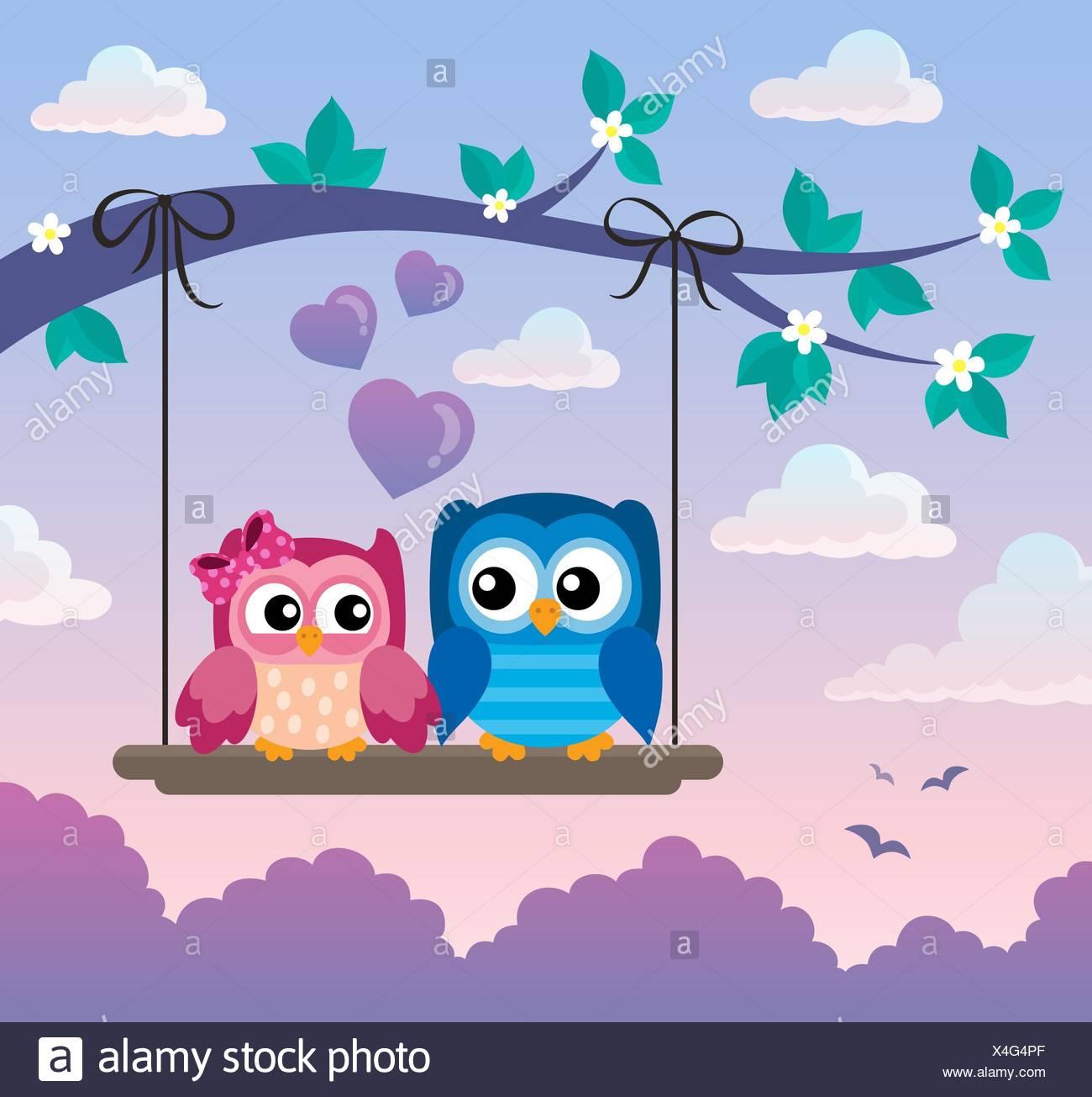 Valentine owls theme image 5 - Stock Image