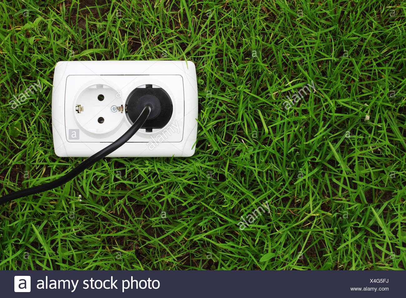 electric power receptacle on a green grass background - Stock Image