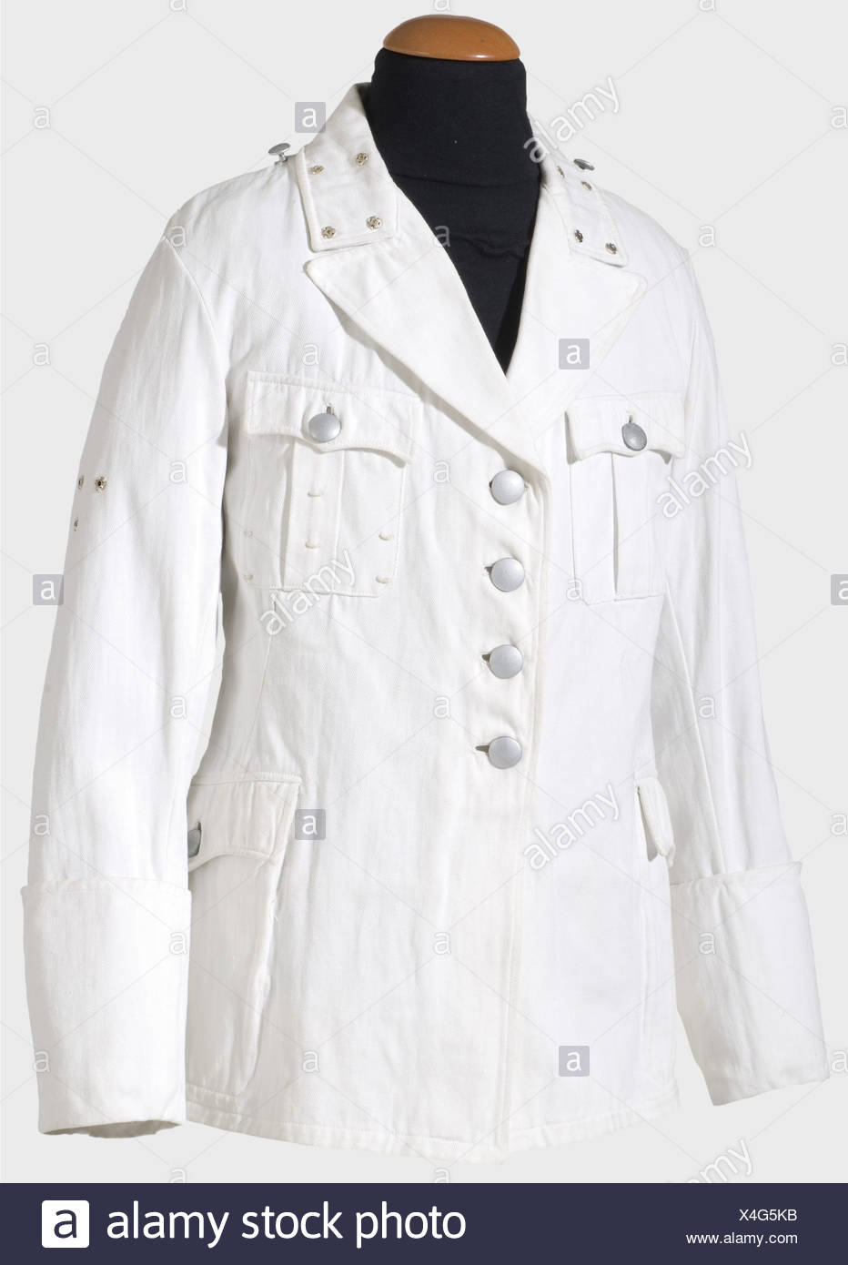 A white summer coat for a Führer, (SS-Officer) in the same cut as the black service tunic. Unlined version of white linen, silver buttons with ring attachments, snap fasteners for collar patches and sleeve eagle, screw fasteners and loops for attaching shoulder boards. Medal loops. historic, historical, 1930s, 1930s, 20th century, Waffen-SS, armed division of the SS, armed service, armed services, NS, National Socialism, Nazism, Third Reich, German Reich, Germany, military, militaria, utensil, piece of equipment, utensils, object, objects, stills, clipping, cli, Additional-Rights-Clearances-NA - Stock Image