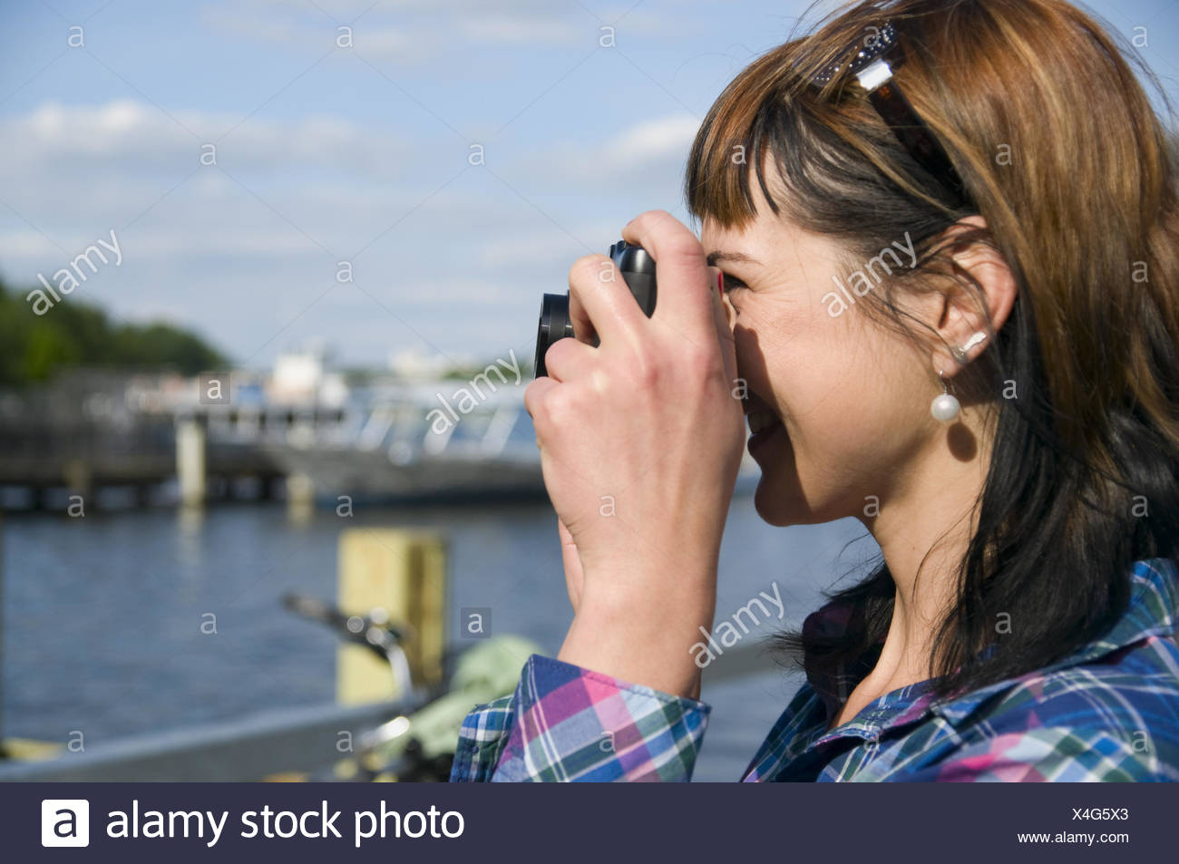 shot by the boats - Stock Image